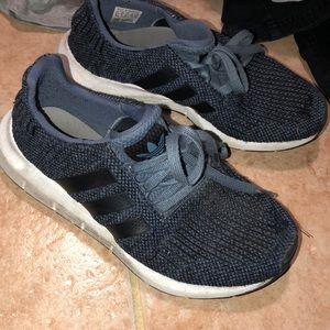 Blue adidas kids shoes